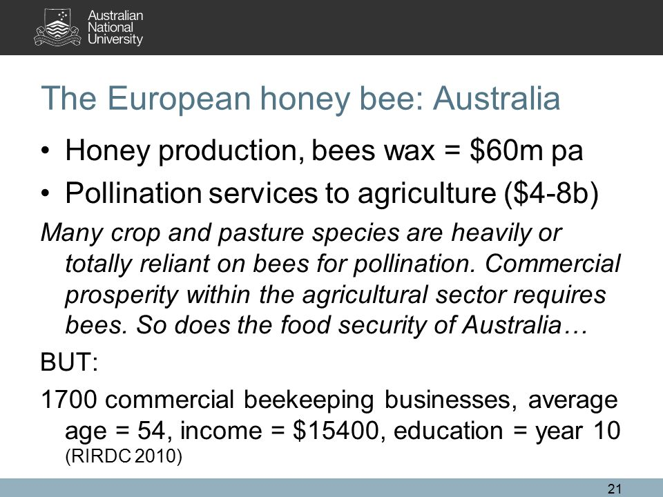 The European honey bee: Australia Honey production, bees wax = $60m pa Pollination services to agriculture ($4-8b) Many crop and pasture species are h