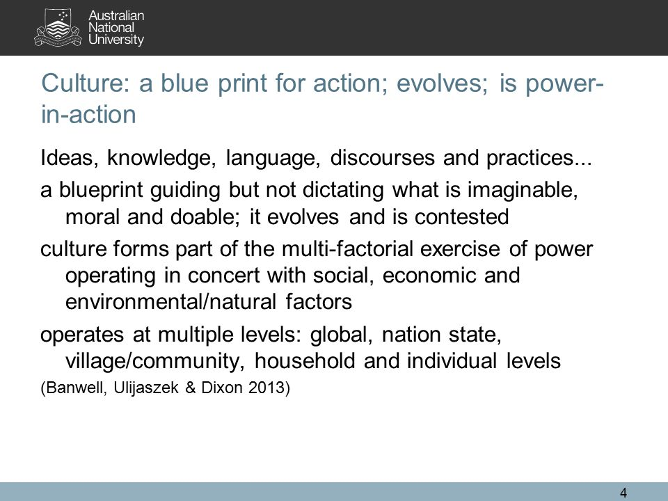 Culture: a blue print for action; evolves; is power- in-action Ideas, knowledge, language, discourses and practices... a blueprint guiding but not dic