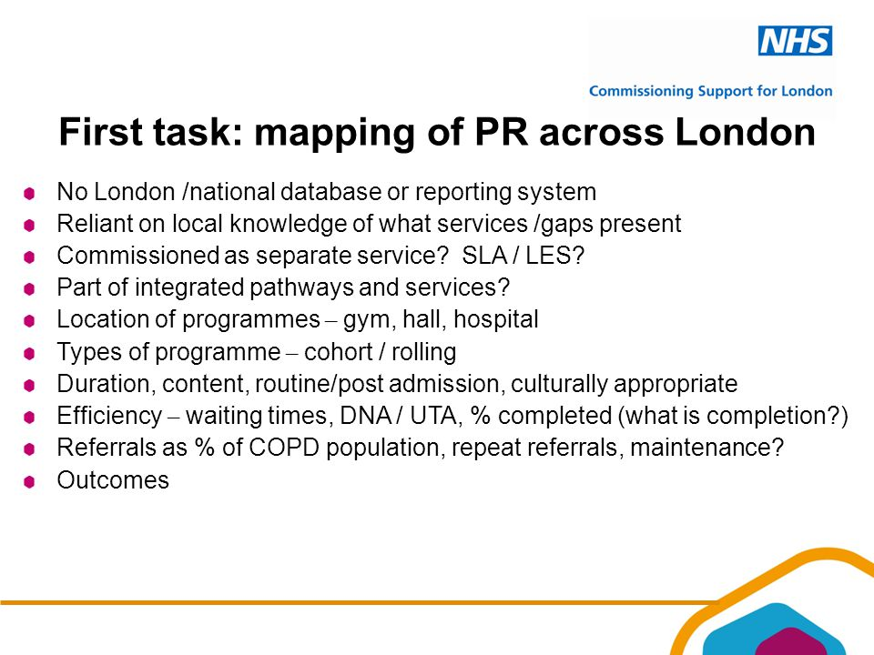 First task: mapping of PR across London No London /national database or reporting system Reliant on local knowledge of what services /gaps present Commissioned as separate service.