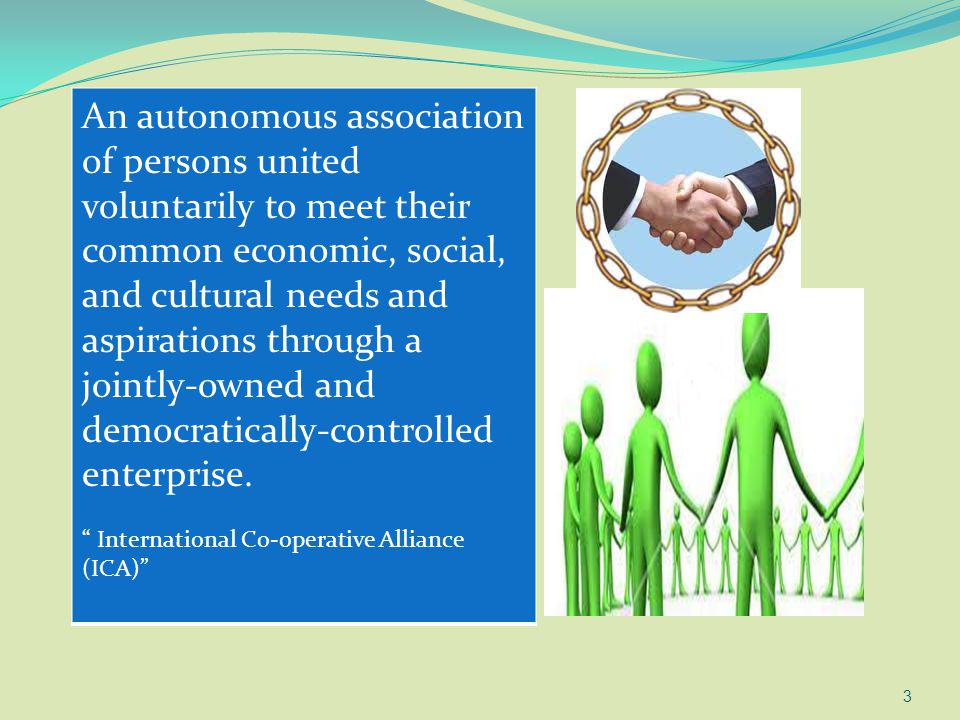 3 An autonomous association of persons united voluntarily to meet their common economic, social, and cultural needs and aspirations through a jointly-