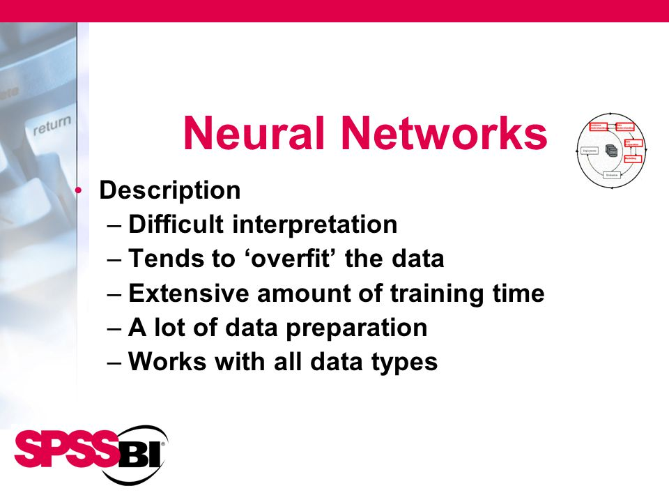 Neural Networks Description –Difficult interpretation –Tends to 'overfit' the data –Extensive amount of training time –A lot of data preparation –Work