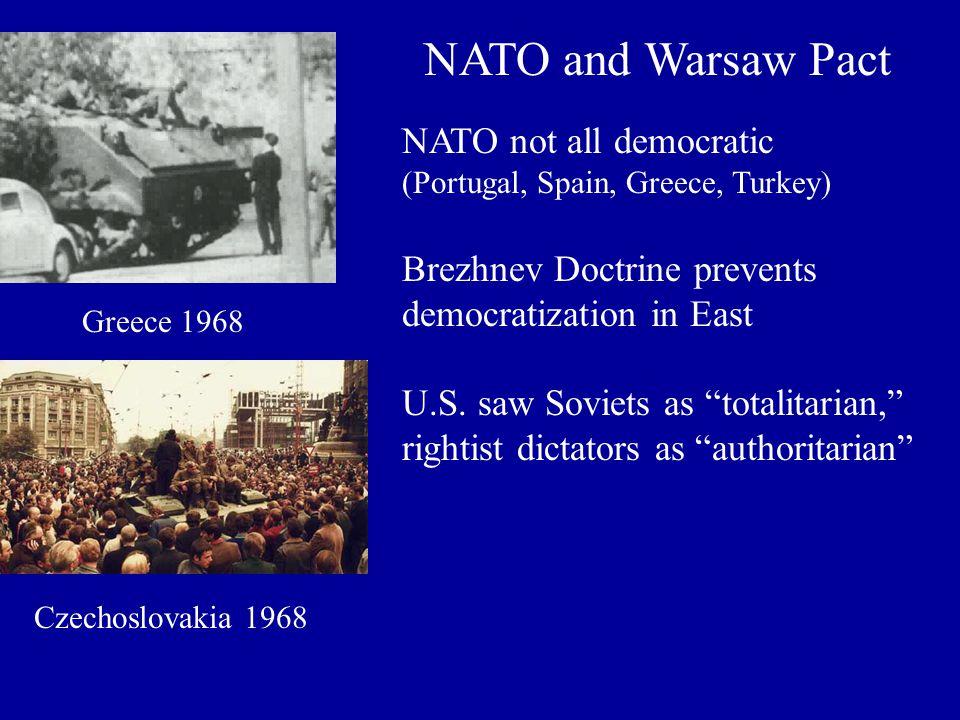 NATO and Warsaw Pact NATO not all democratic (Portugal, Spain, Greece, Turkey) Brezhnev Doctrine prevents democratization in East U.S. saw Soviets as
