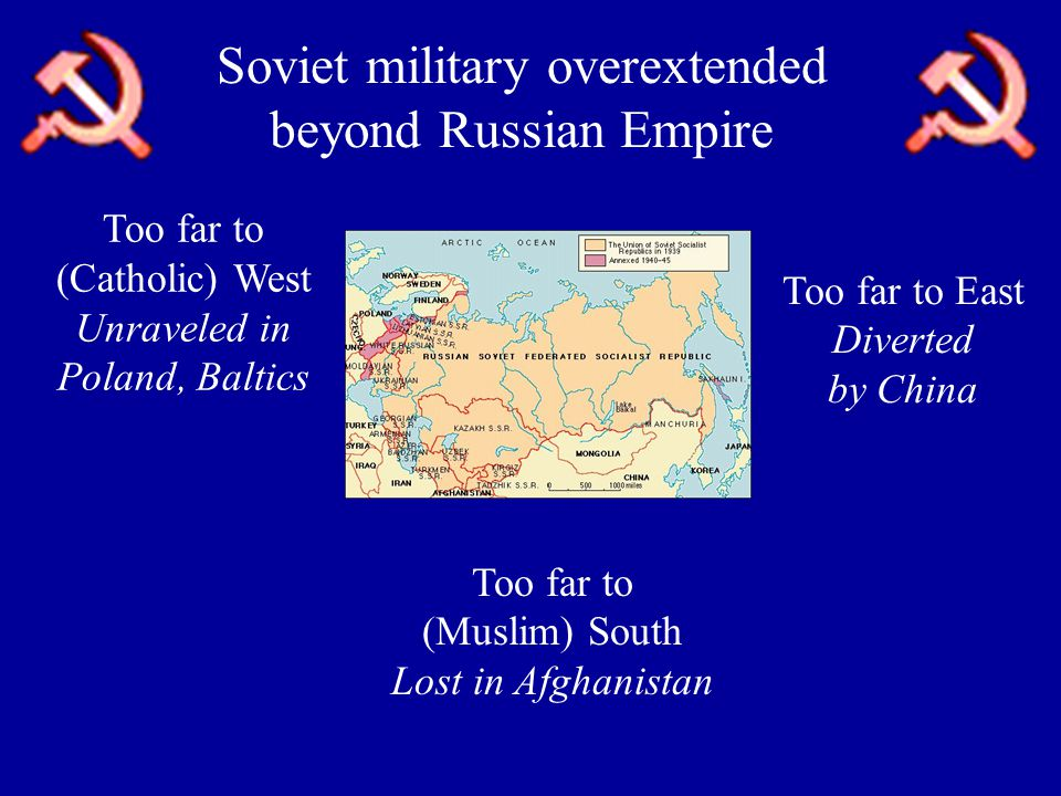 Soviet military overextended beyond Russian Empire Too far to (Muslim) South Lost in Afghanistan Too far to (Catholic) West Unraveled in Poland, Baltics Too far to East Diverted by China
