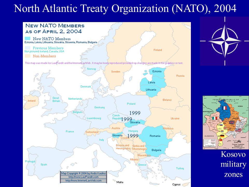 North Atlantic Treaty Organization (NATO), 2004 Kosovo military zones 1999