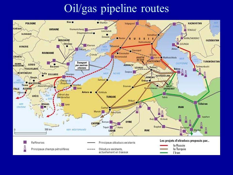 Oil/gas pipeline routes xxxxx Xxxxx xxxxx