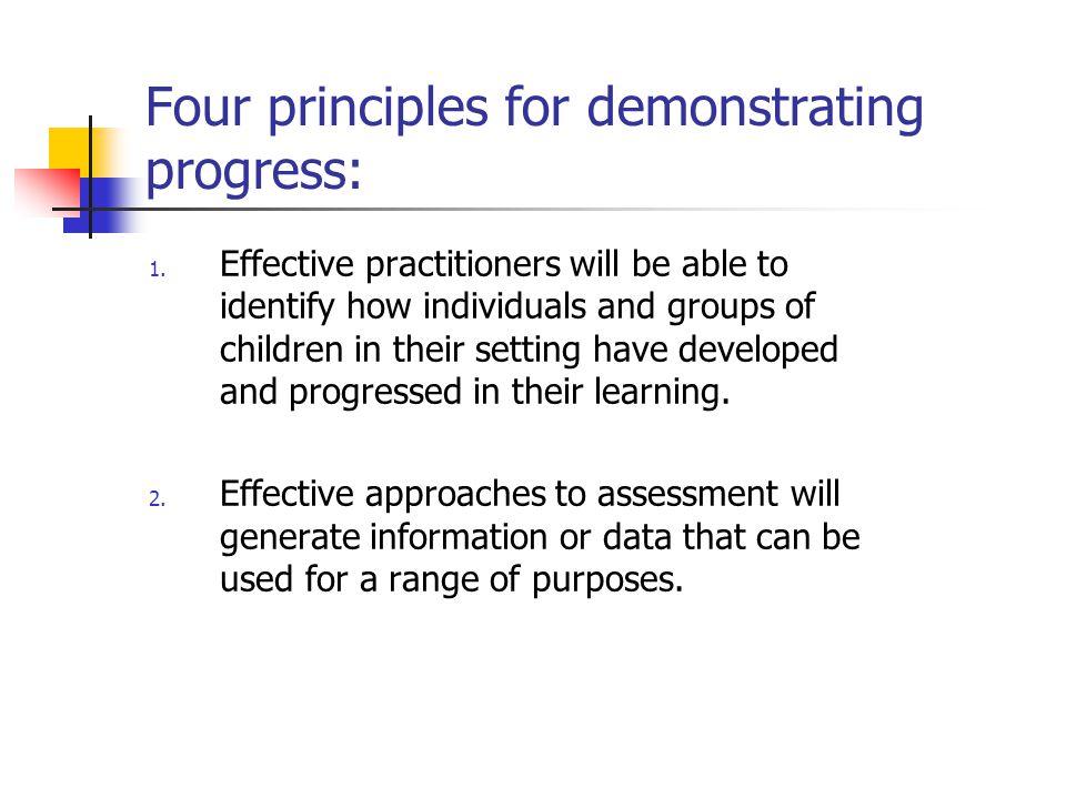 Four principles for demonstrating progress: 3.
