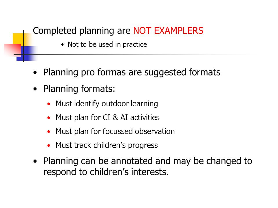 Please take time to look at the planning pro formas and examples. Questions and queries on post its