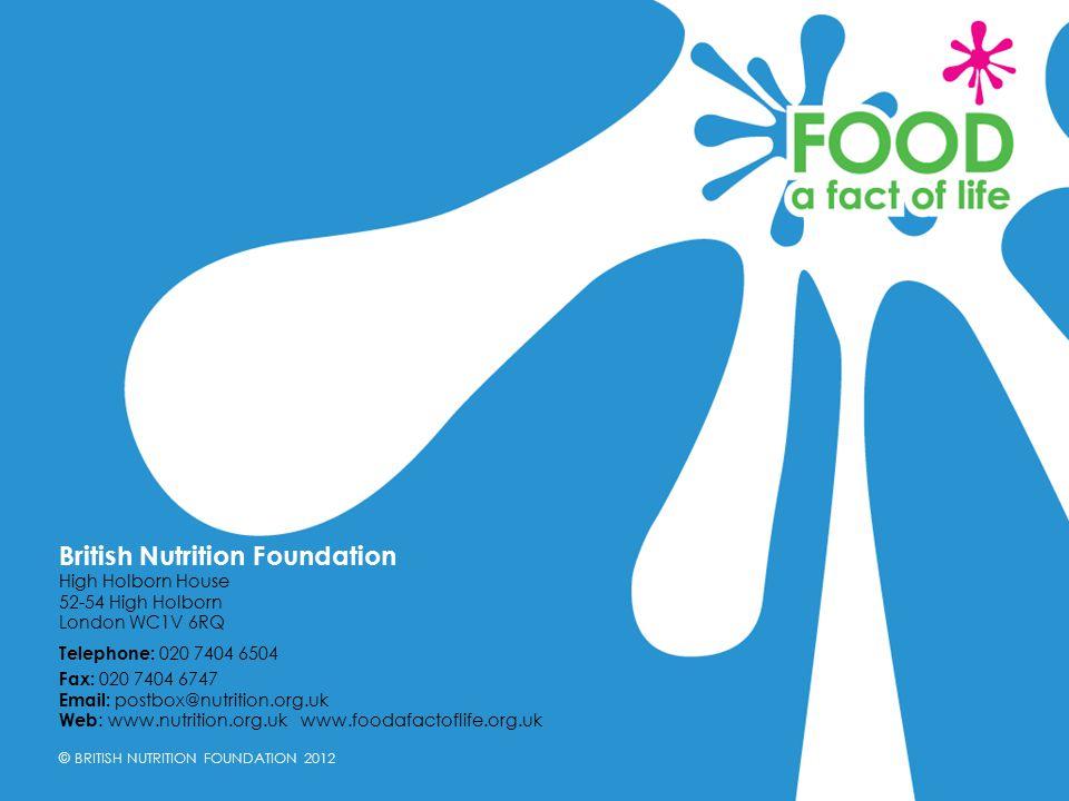 © BRITISH NUTRITION FOUNDATION 2012 British Nutrition Foundation High Holborn House 52-54 High Holborn London WC1V 6RQ Telephone: 020 7404 6504 Fax: 0
