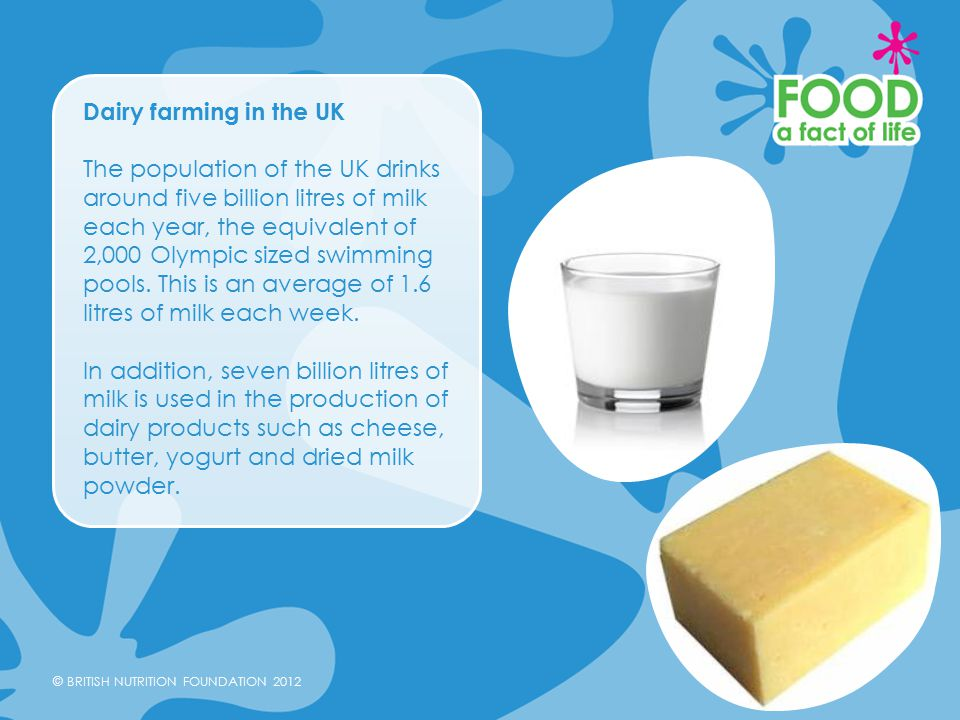 © BRITISH NUTRITION FOUNDATION 2012 Dairy farming in the UK The population of the UK drinks around five billion litres of milk each year, the equivalent of 2,000 Olympic sized swimming pools.