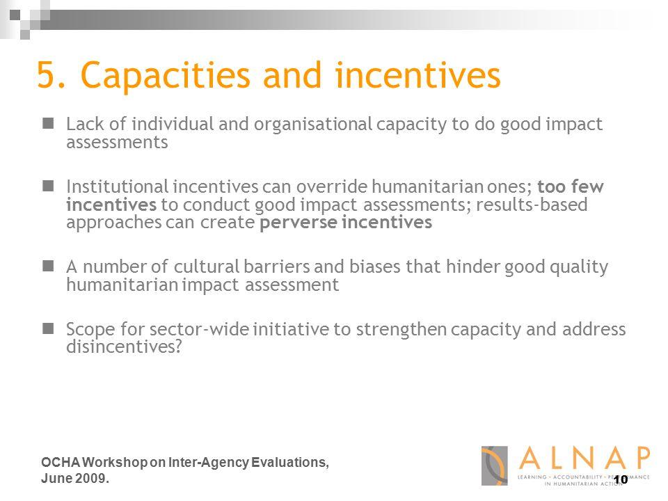 10 OCHA Workshop on Inter-Agency Evaluations, June 2009.