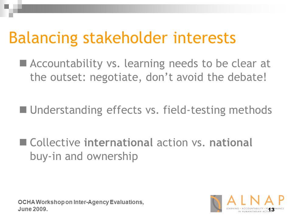 13 OCHA Workshop on Inter-Agency Evaluations, June 2009.