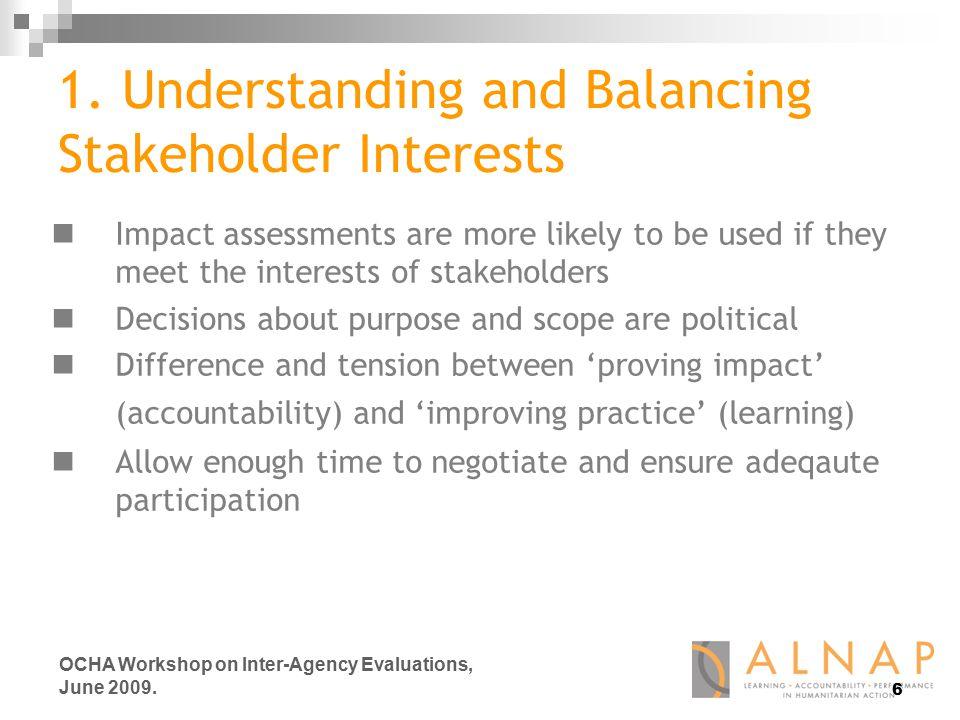 6 OCHA Workshop on Inter-Agency Evaluations, June 2009.