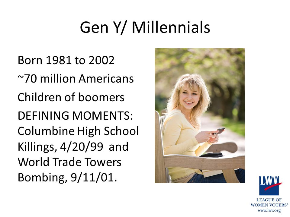 Gen Y/ Millennials Born 1981 to 2002 ~70 million Americans Children of boomers DEFINING MOMENTS: Columbine High School Killings, 4/20/99 and World Tra