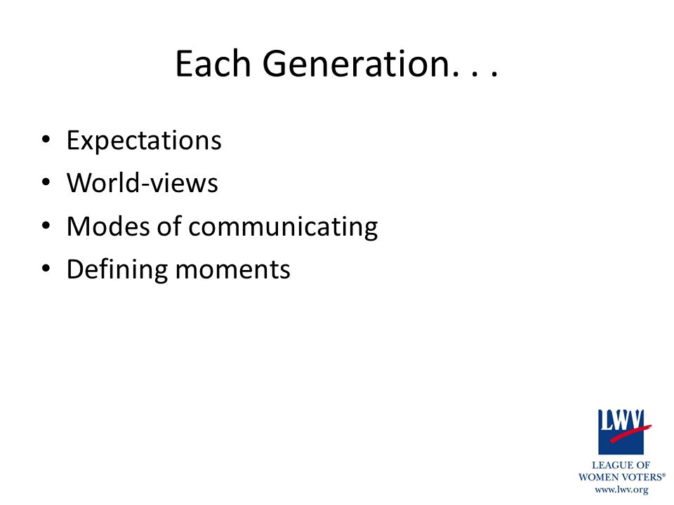 Each Generation... Expectations World-views Modes of communicating Defining moments