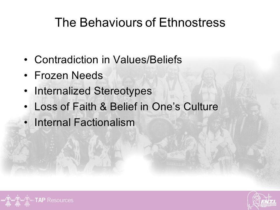 The Behaviours of Ethnostress Contradiction in Values/Beliefs Frozen Needs Internalized Stereotypes Loss of Faith & Belief in One's Culture Internal F