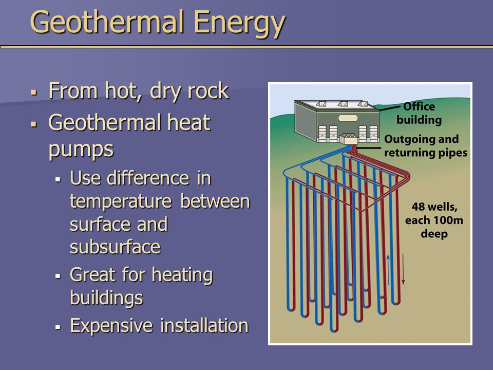 Geothermal Energy  From hot, dry rock  Geothermal heat pumps  Use difference in temperature between surface and subsurface  Great for heating buildings  Expensive installation