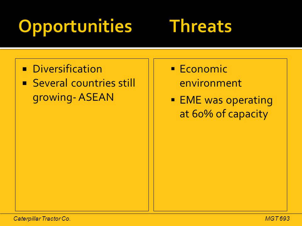 Diversification  Several countries still growing- ASEAN  Economic environment  EME was operating at 60% of capacity Caterpillar Tractor Co.MGT 69