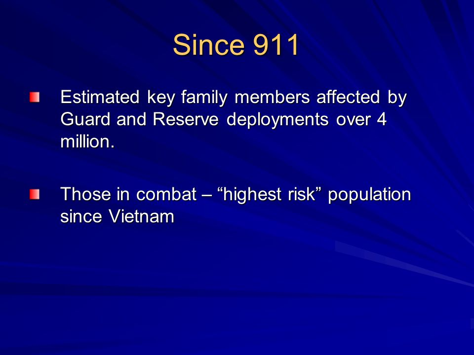 Guard & Reserves in NH Over 5,000 Includes –Army Guard –Army Reserves –Naval Reserves –Marine Corps Reserves –Air Guard