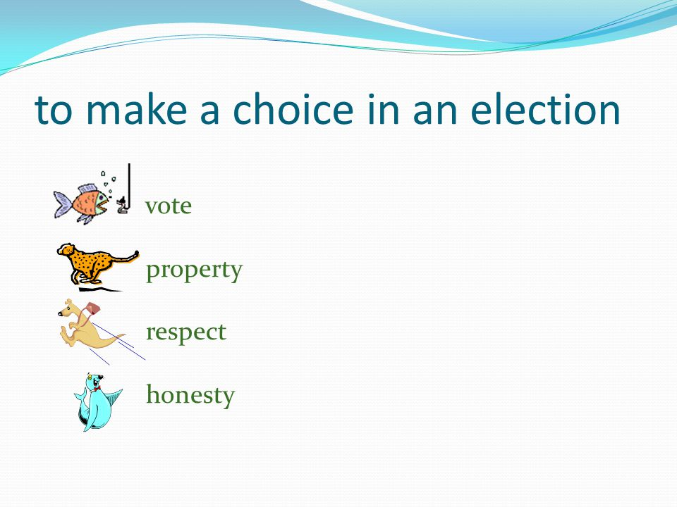 to make a choice in an election vote property respect honesty