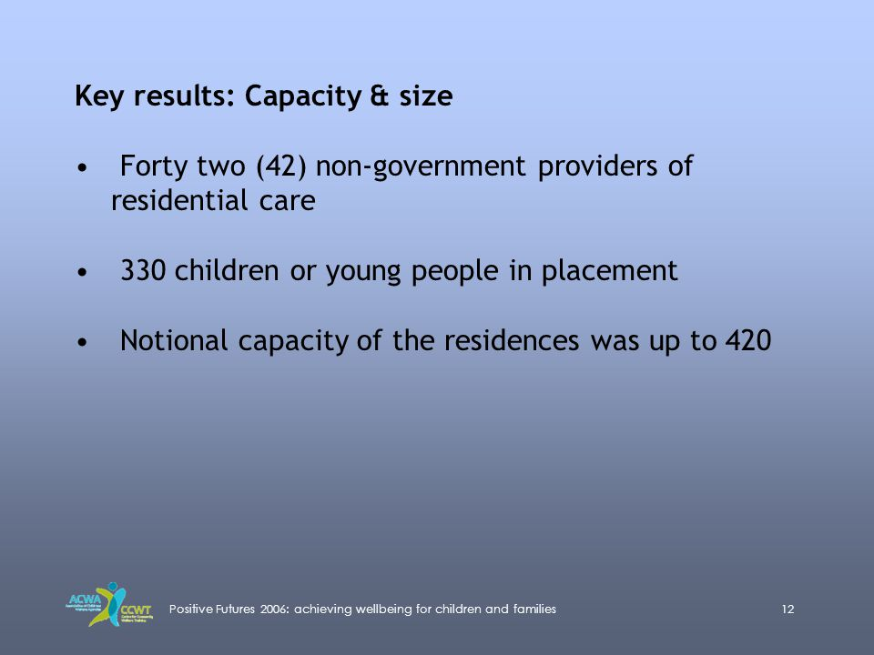 Positive Futures 2006: achieving wellbeing for children and families12 Key results: Capacity & size Forty two (42) non-government providers of residen