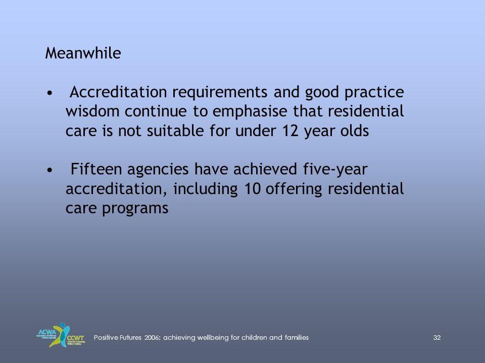 Positive Futures 2006: achieving wellbeing for children and families32 Meanwhile Accreditation requirements and good practice wisdom continue to empha