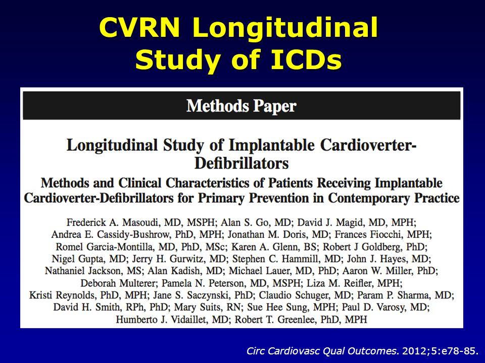 CVRN Longitudinal Study of ICDs Circ Cardiovasc Qual Outcomes. 2012;5:e78-85.