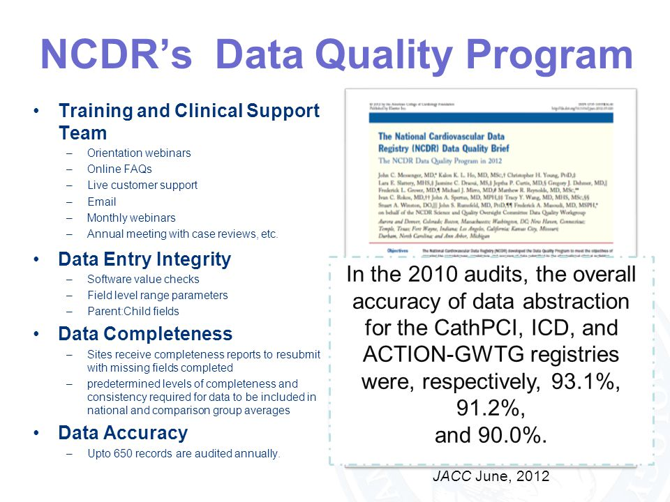 NCDR's Data Quality Program Training and Clinical Support Team –Orientation webinars –Online FAQs –Live customer support –Email –Monthly webinars –Ann