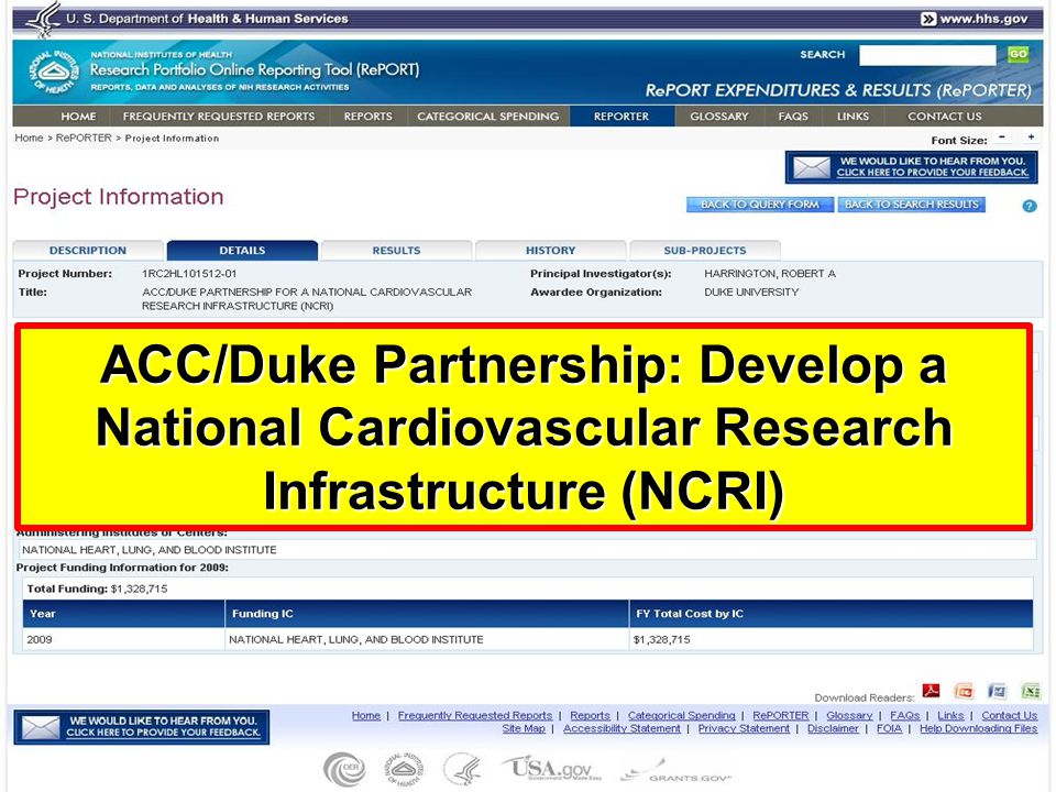 ACC/Duke Partnership: Develop a National Cardiovascular Research Infrastructure (NCRI)