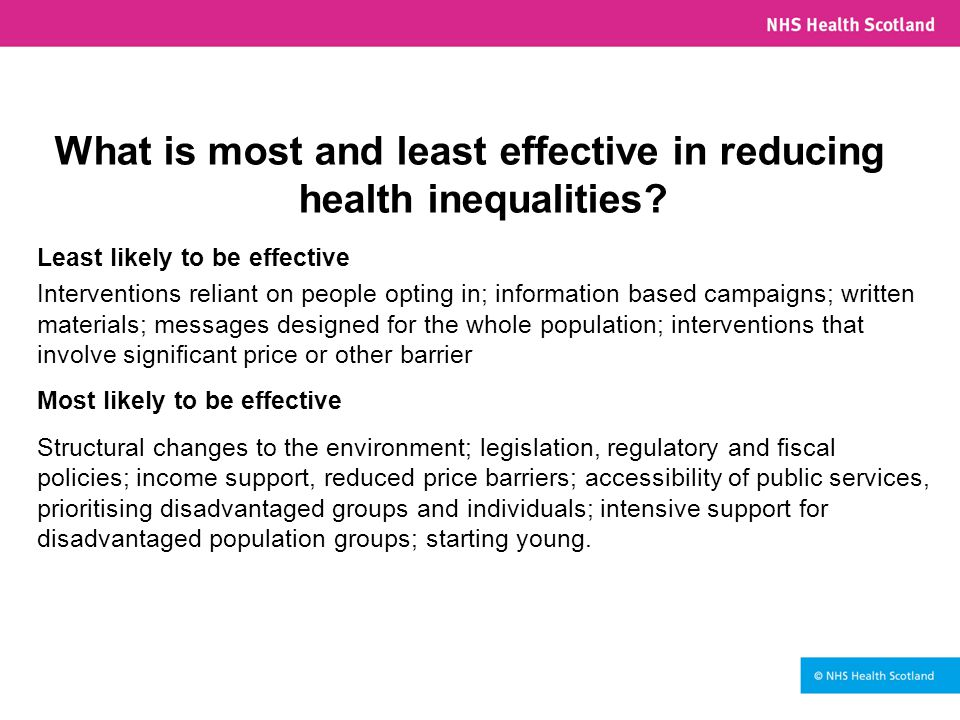 What is most and least effective in reducing health inequalities.