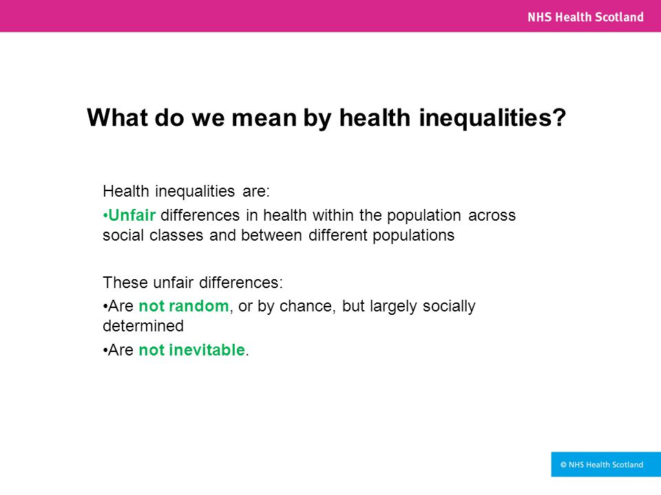 What do we mean by health inequalities.