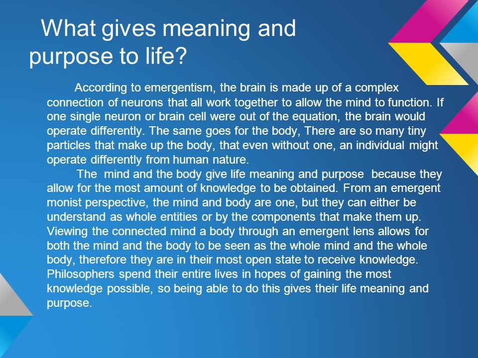 What gives meaning and purpose to life.