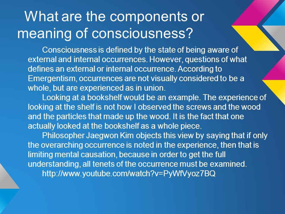 What are the components or meaning of consciousness.