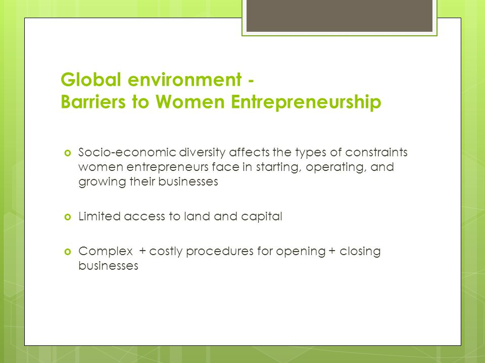 My Approach To this Subject  Global environment for women entrepreneurship  Barriers to women entrepreneurship  Why invest in women.