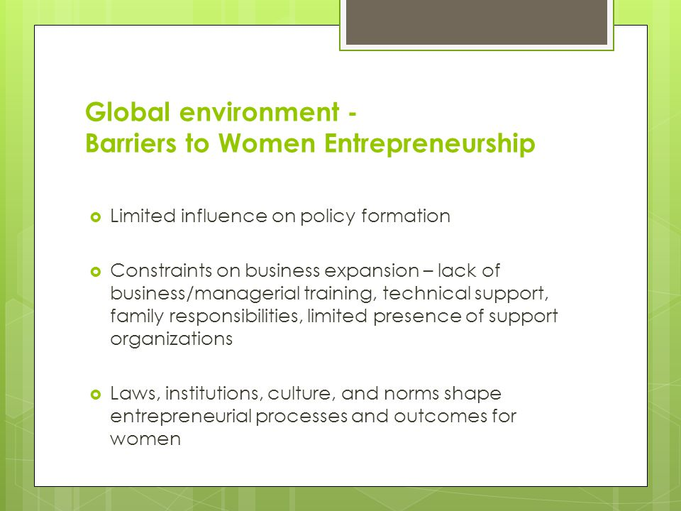 Global environment - Barriers to Women Entrepreneurship  Socio-economic diversity affects the types of constraints women entrepreneurs face in starti