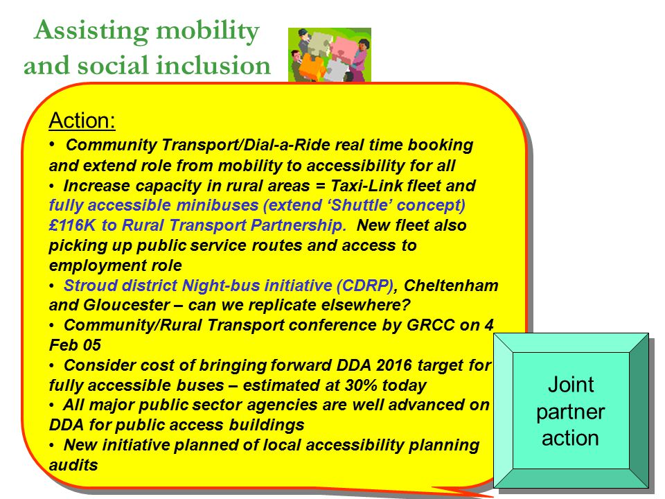 Assisting mobility and social inclusion Action: Community Transport/Dial-a-Ride real time booking and extend role from mobility to accessibility for a