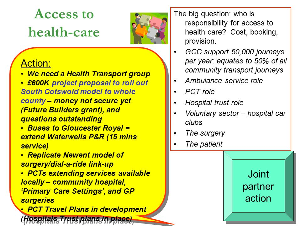Access to health-care The big question: who is responsibility for access to health care? Cost, booking, provision. GCC support 50,000 journeys per yea