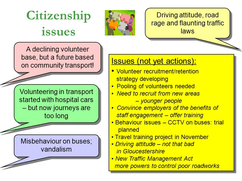 Citizenship issues A declining volunteer base, but a future based on community transport.