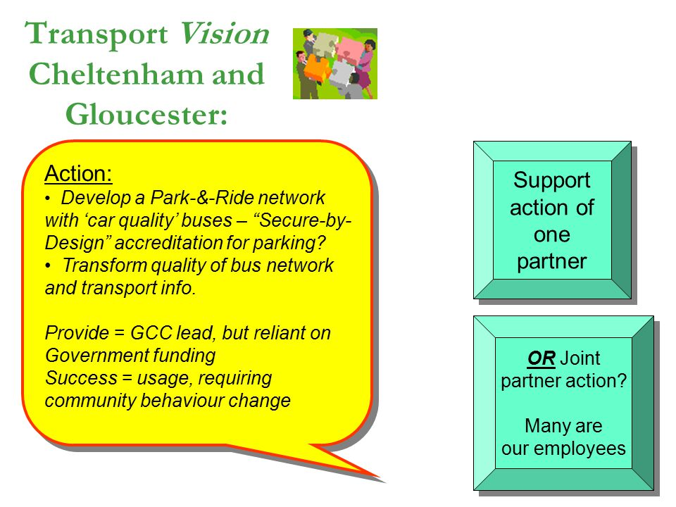 "Action: Develop a Park-&-Ride network with 'car quality' buses – ""Secure-by- Design"" accreditation for parking? Transform quality of bus network and t"