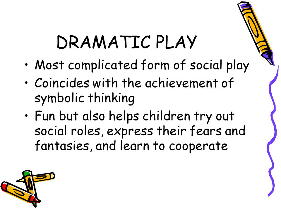 DRAMATIC PLAY Most complicated form of social play Coincides with the achievement of symbolic thinking Fun but also helps children try out social roles, express their fears and fantasies, and learn to cooperate