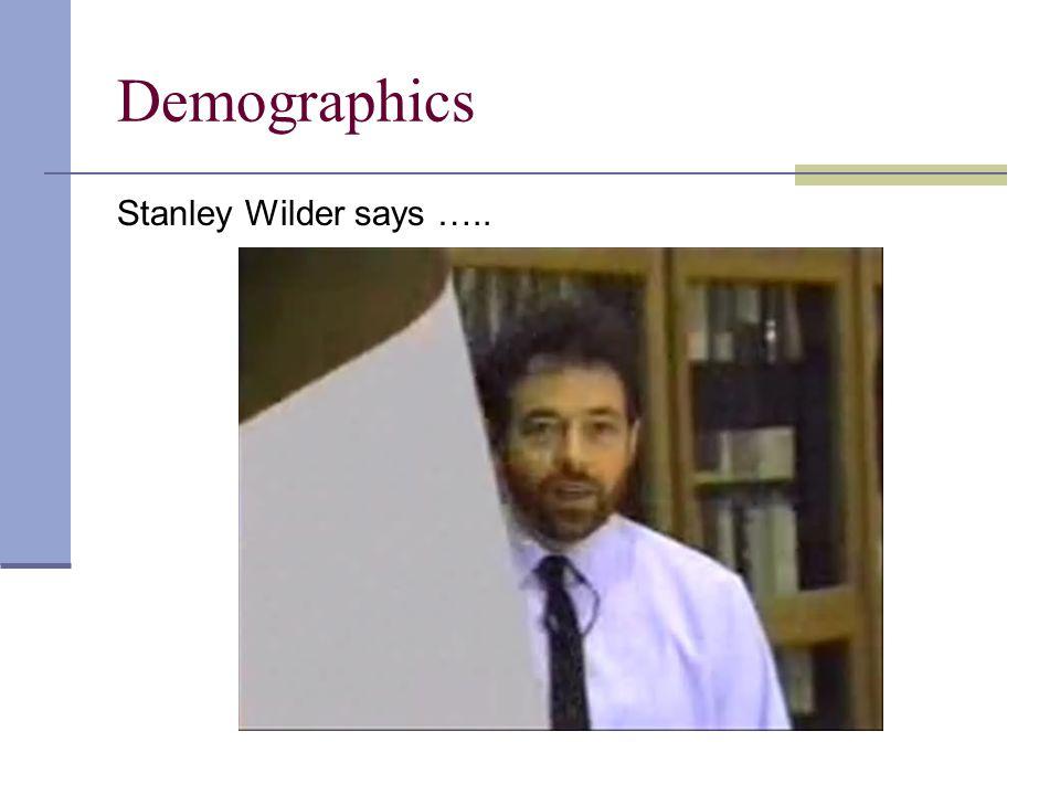 Demographics Stanley Wilder says …..