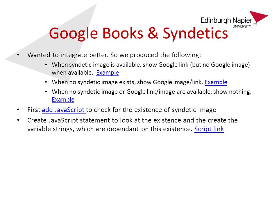Google Books & Syndetics Wanted to integrate better.