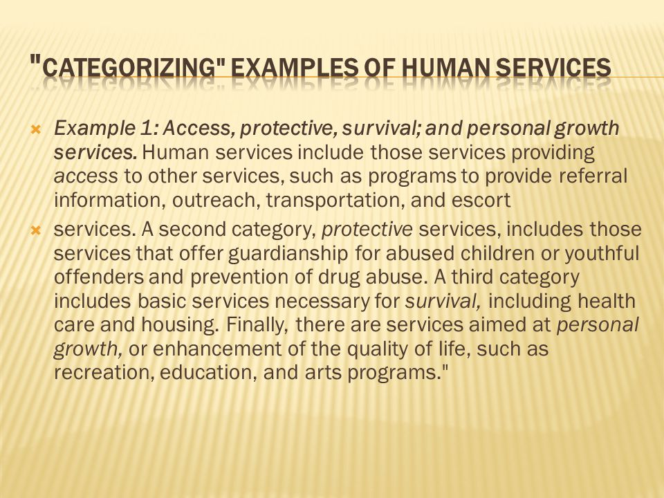  Example 1: Access, protective, survival; and personal growth services.