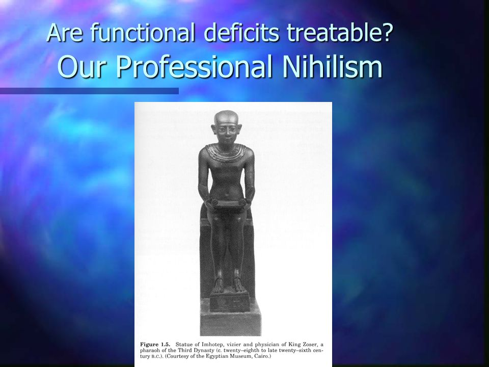 Are functional deficits treatable? Our Professional Nihilism