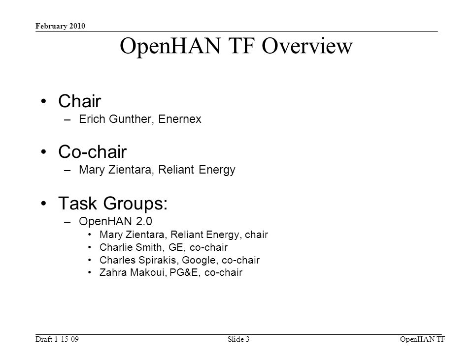Draft 1-15-09 February 2010 OpenHAN TFSlide 3 OpenHAN TF Overview Chair –Erich Gunther, Enernex Co-chair –Mary Zientara, Reliant Energy Task Groups: –OpenHAN 2.0 Mary Zientara, Reliant Energy, chair Charlie Smith, GE, co-chair Charles Spirakis, Google, co-chair Zahra Makoui, PG&E, co-chair