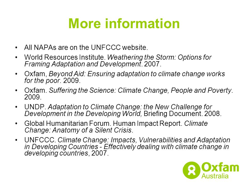 More information All NAPAs are on the UNFCCC website.