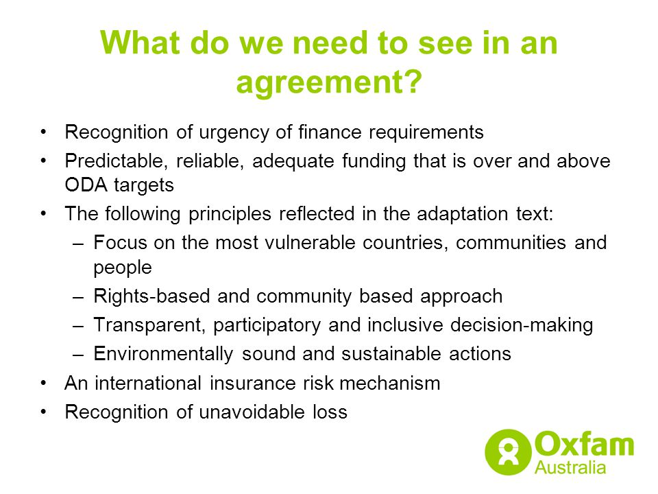 What do we need to see in an agreement.