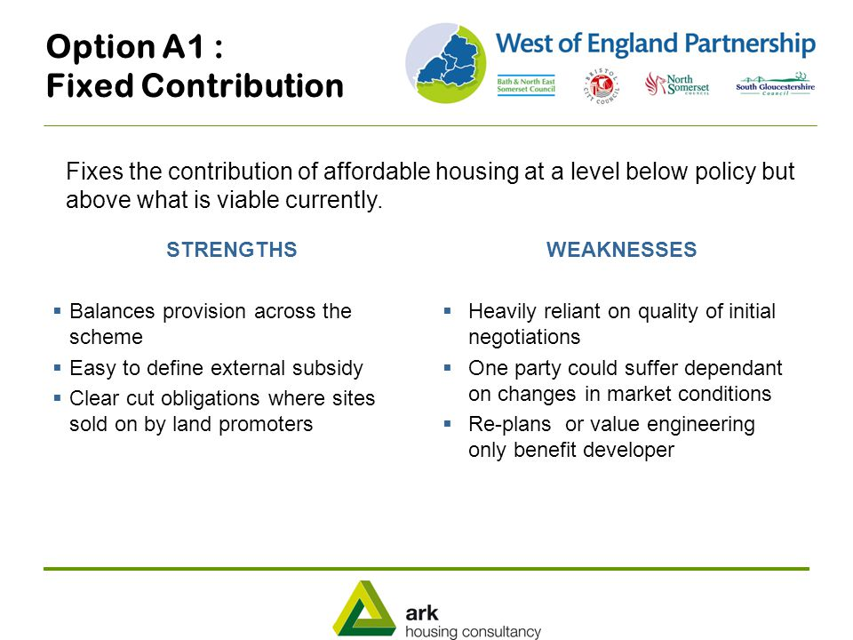 Option A1 : Fixed Contribution STRENGTHS  Balances provision across the scheme  Easy to define external subsidy  Clear cut obligations where sites sold on by land promoters WEAKNESSES  Heavily reliant on quality of initial negotiations  One party could suffer dependant on changes in market conditions  Re-plans or value engineering only benefit developer Fixes the contribution of affordable housing at a level below policy but above what is viable currently.