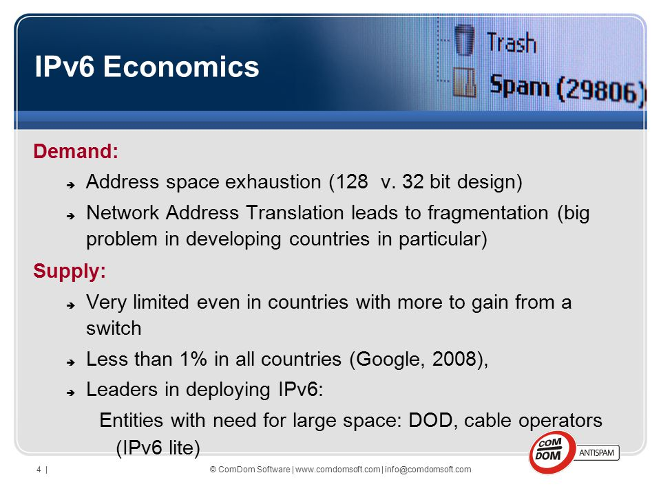© ComDom Software | www.comdomsoft.com | info@comdomsoft.com4 | IPv6 Economics Demand:  Address space exhaustion (128 v.