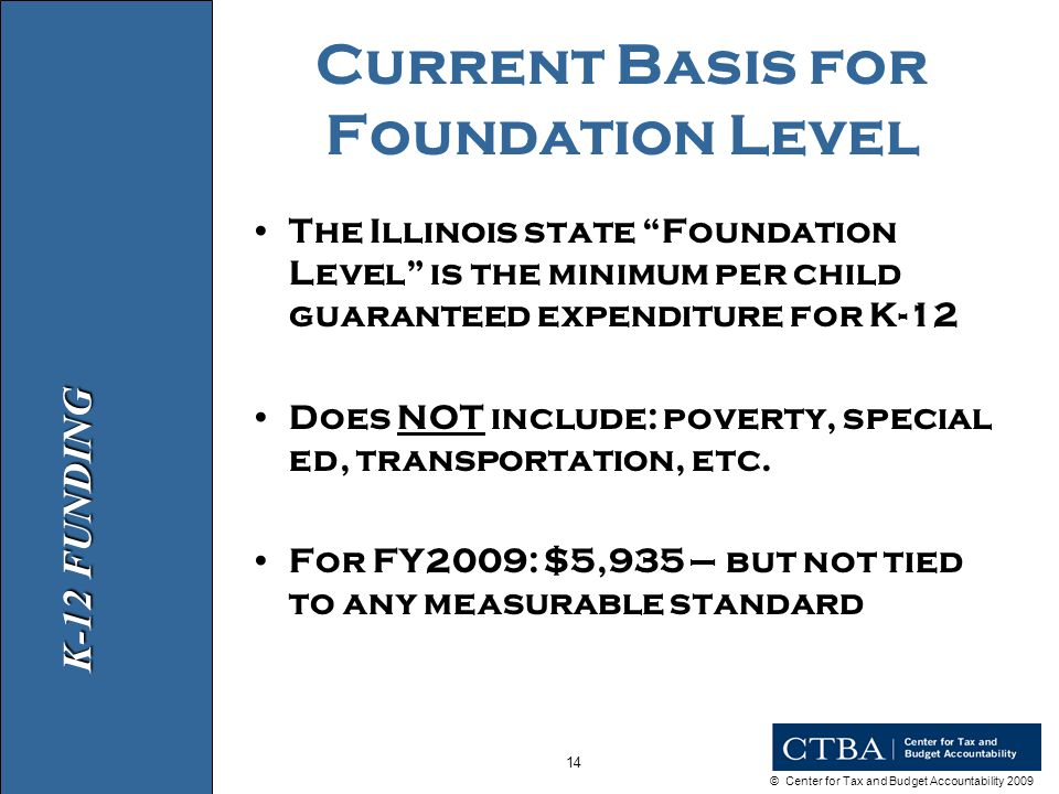 © Center for Tax and Budget Accountability 2009 14 Current Basis for Foundation Level The Illinois state Foundation Level is the minimum per child guaranteed expenditure for K-12 Does NOT include: poverty, special ed, transportation, etc.