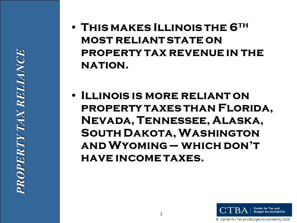 © Center for Tax and Budget Accountability 2009 3 This makes Illinois the 6 th most reliant state on property tax revenue in the nation.
